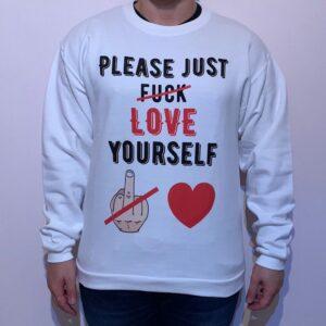 Felpa Please Love Yourself Black Uomo Bianco 1