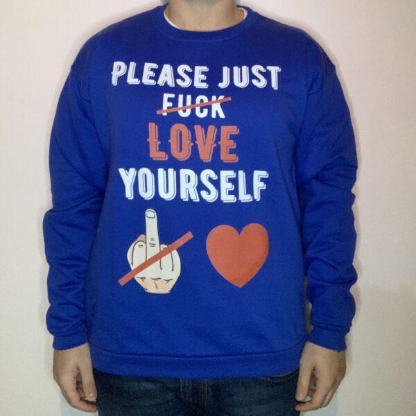 Felpa Please Love Yourself White Uomo Blu Royal 1