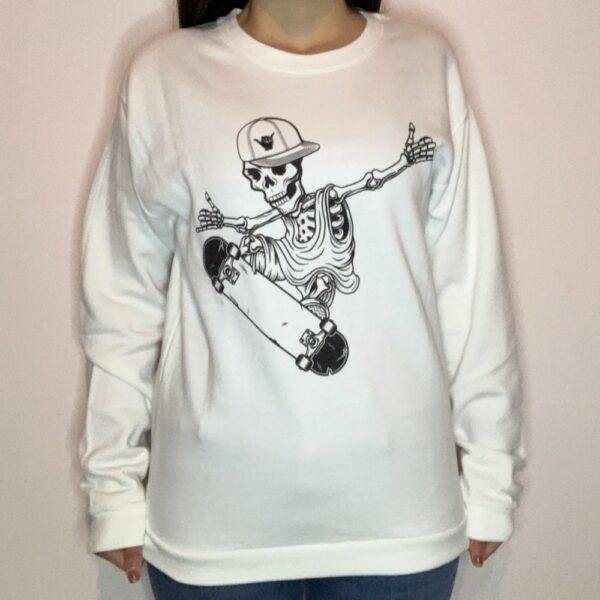 Felpa Skeleton Skater Donna Bianco 1