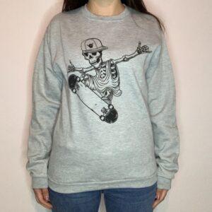 Felpa Skeleton Skater Donna Grigio Chiaro 1