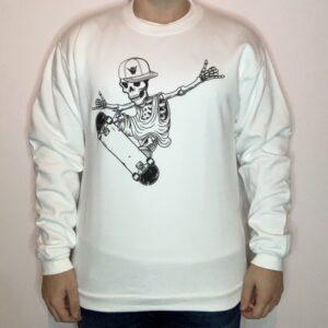 Felpa Skeleton Skater Uomo Bianco 1