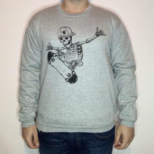 Felpa Skeleton Skater Uomo Grigio Chiaro 1