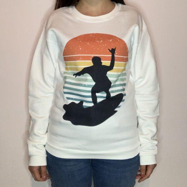 Felpa Surfer on Sunset Donna Bianco 1