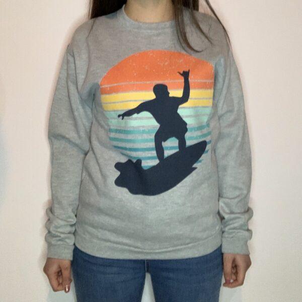 Felpa Surfer on Sunset Donna Grigio Chiaro 1