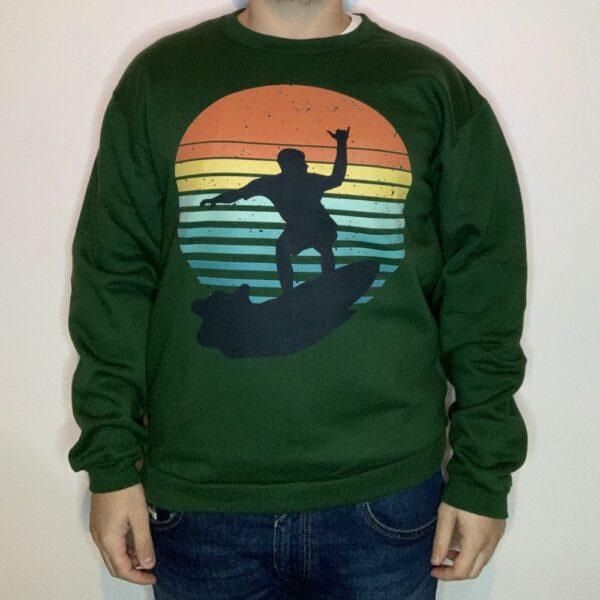 Felpa Surfer on Sunset Uomo Verde Scuro 1