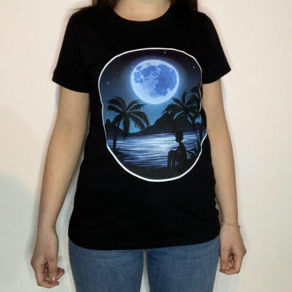 T-shirt Night Sea Donna Nero 1