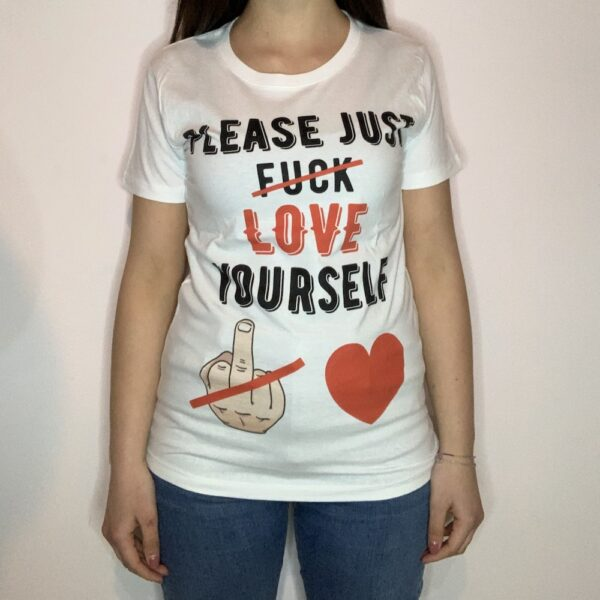 T-shirt Please Love Youreself Black Donna Bianco 1