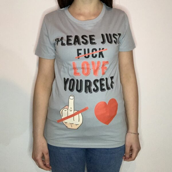 T-shirt Please Love Youreself Black Donna Grigio Pure 1