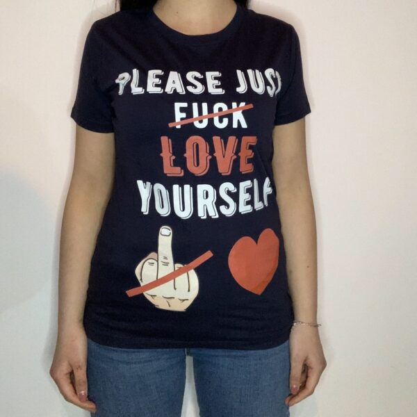 T-shirt Please Love Youreself White Donna Blu Navy 1