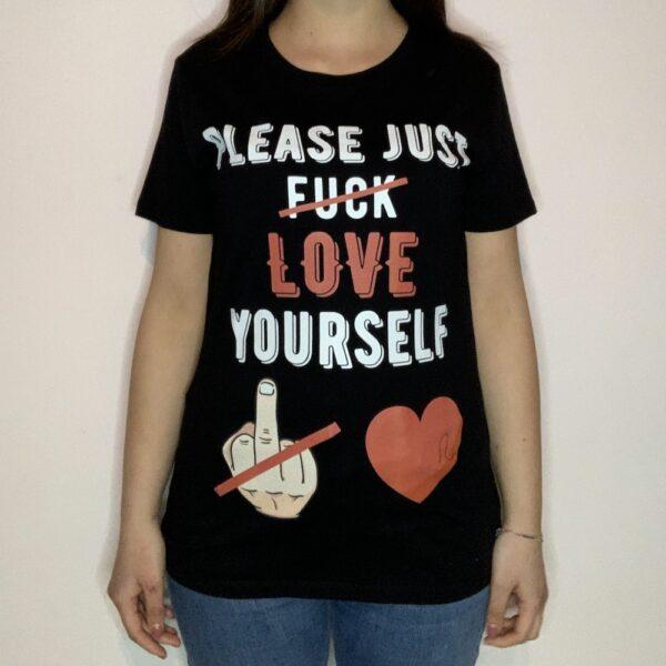 T-shirt Please Love Youreself White Donna Nero 1