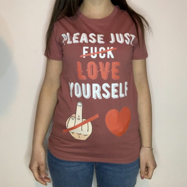 T-shirt Please Love Youreself White Donna Rosa Antico 1