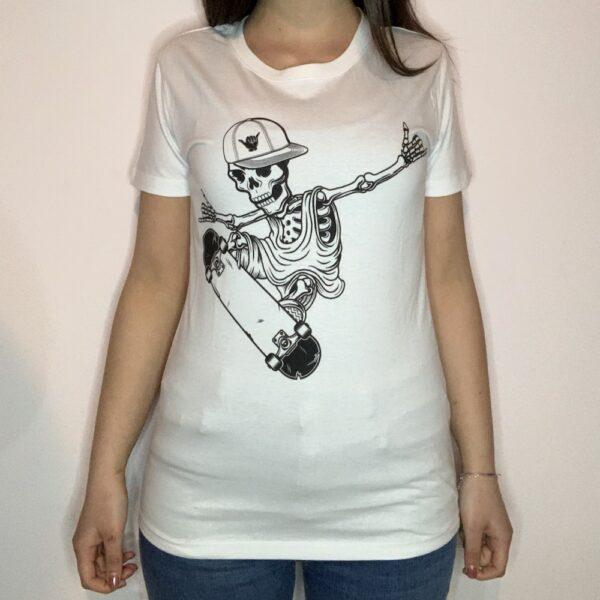 T-shirt Skeleton Skater Donna Bianco 1