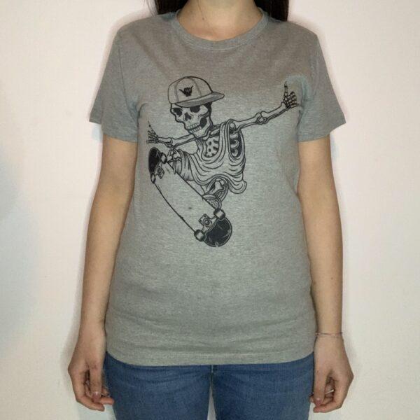 T-shirt Skeleton Skater Donna Grigio Melange 1