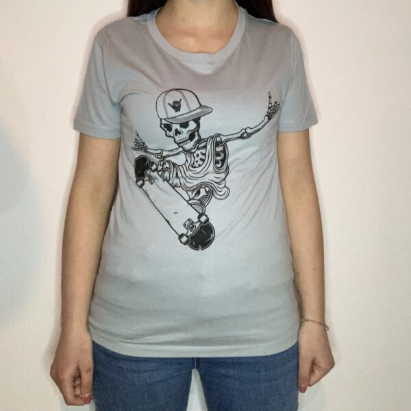 T-shirt Skeleton Skater Donna Grigio Puro 1